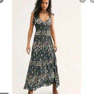 Free People Let's Smock About It Floral Print Maxi Dress XS